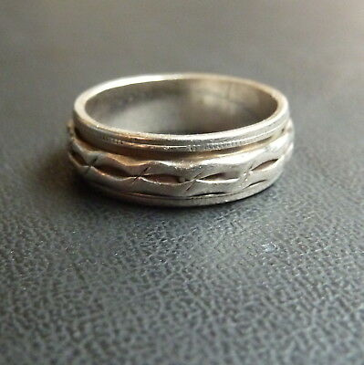 Vintage Sterling Silver Hand Made Spinner Ring 'Berk 925' Size N