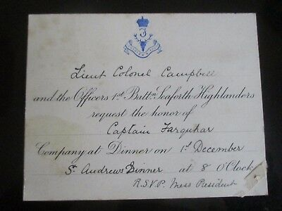 c 1900s  1st BATTALION SEAFORTH HIGHLANDERS LIEUTENANT COLONEL CAMPBELL INVITE