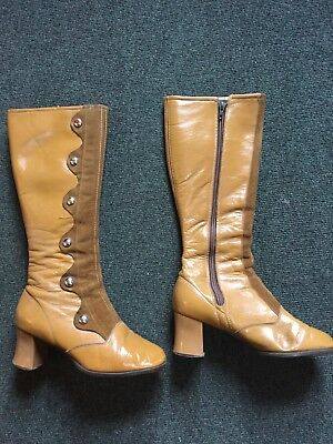 Genuine 1960's Ladies Knee High Boots Boxed Size 5