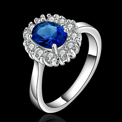 UK Women Girl  Jewelry 925 Sterling Silver BLUE Diamond Ring Size Q