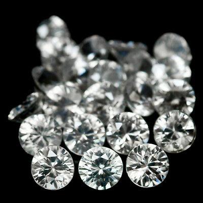 4.77 CT AAA! NATURAL! 22PCS WHITE ZIRCON ROUND 3.0 mm. CAMBODIA EXCEPTIONAL