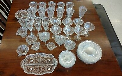 43 Piece Tiffin Franciscan Etched Glass Set