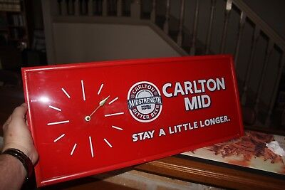 Carlton Mid-Strength Clock Sign - Plastic with wood frame