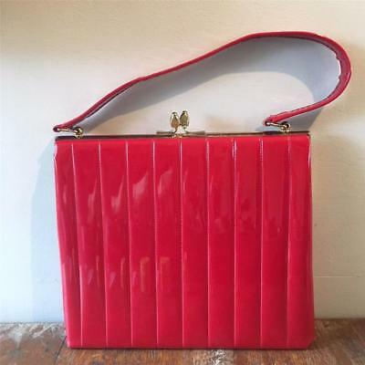 True Vintage 1950s/60s Red Patent Leather Handbag Frame Bag