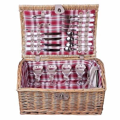 Great Value 4 Person Wicker Cube Shaped Picnic Basket Christmas Gift Hampers