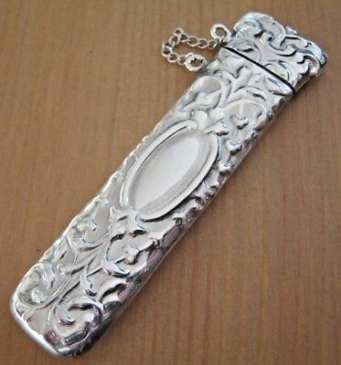 A Large Victorian Style Hallmarked Sterling Silver Needle Case Chatelaine