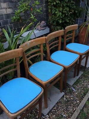 Four Vintage Beech 1960s Dining Chairs