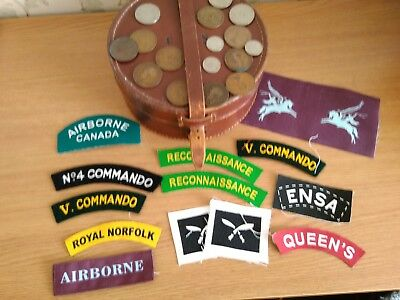 coins patches in a gentlemans collar leather vintage box