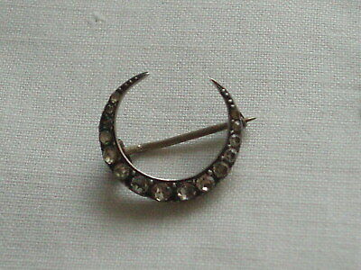 Antique Victorian Silver Crescent Moon Sweetheart Lace Pin Brooch