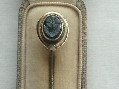 Antique Victorian Rolled Gold Intaglio Forget Me Not Flower Mourning Stick Pin