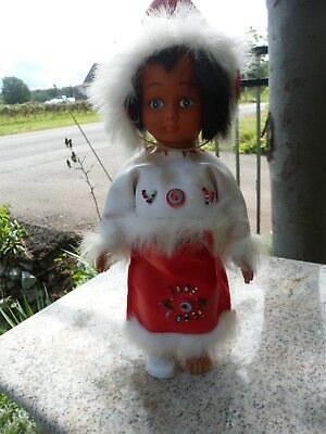 Vintage Eskimo Inuit Plastic Souvenir Doll First Nations Red White 11""