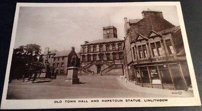 Vintage Linlithgow Postcard Old Town Hall & Hopetoun Statue B/W RP, Unposted