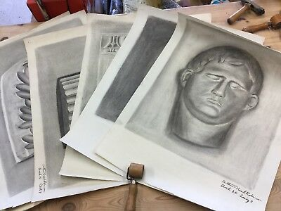 Old Artists Portfolio Of 6 Original Signed Drawing Charcoal Arthur Neal Robinson