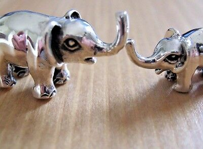 Incredibly Sweet Sterling Silver Miniature Mother & Baby Elephant Statue Figure