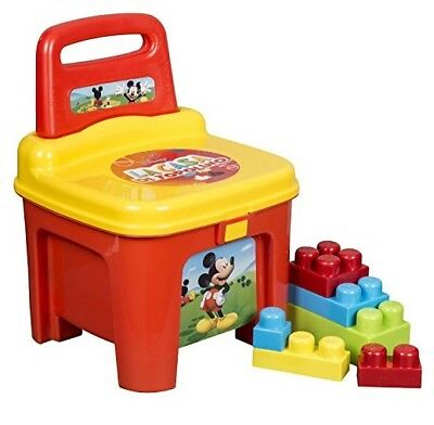 Disney Mickey Mouse Storage Box Seat With Building Blocks - Childrens Carry Case