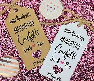 Confetti Bag Tags, Personolised Wedding Favours Gift Tags