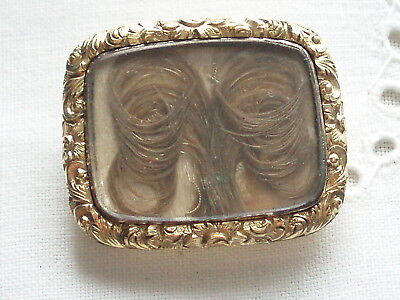 Antique Georgian Victorian Gold Cased Hair Mourning Brooch