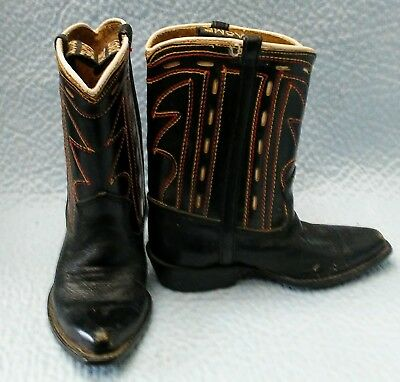 Child's Acme Leather Cowboy Western Boots Black & Brown Size 4