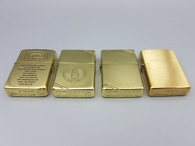 lot of 4 vintage brass Zippo lighters Camel Trophy 50 Years and Glowing stronger