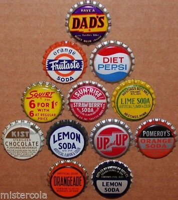 Vintage soda pop bottle caps 12 ALL DIFFERENT cork lined mix #28 new old stock