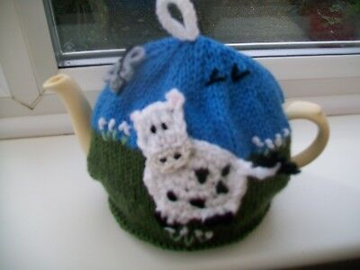 Hand Knitted  Cow Tea Cosy For A Medium Teapot 3-4 Cup Size