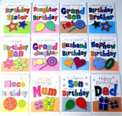 96 SUPERB 'STITCHES' MAIN RELATIONS CARDS  25p,TEXTURED- WRAPPED-16 DESIGNS x6