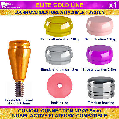 DSI Dental Implant Conical Loc-In NP Nobel Active Overdenture Attachment 3mm