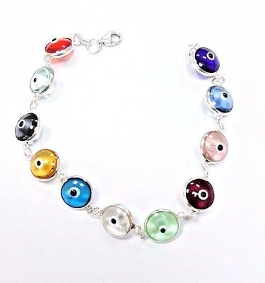 Sterling Silver Multicolor Evil Eye Turkish Bracelet