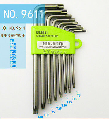 8PCS/set Torx CRV Key Star Wrench Tool Screwdriver Spanner 9611 T9/T10/T15/T20