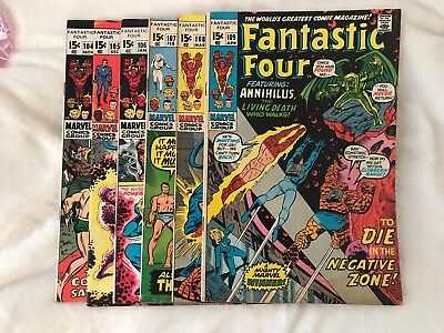 Fantastic Four Lot #104-109 (6) Comics No Reserve Auction!!!