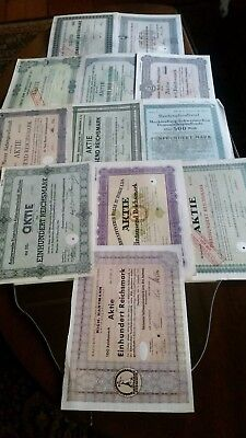 ***Instant Collection - Lot of 12 German Stock Certificates from 1920's - 1940's