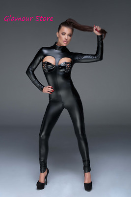 Sexy Tutina Catsuit APERTA NERA Power Wetlook Laccetti Zip 2 vie Fashion GLAMOUR