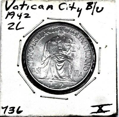 1942 Vatican City 2 Lire - Bu- Uncirculated Rare  Great Coin.