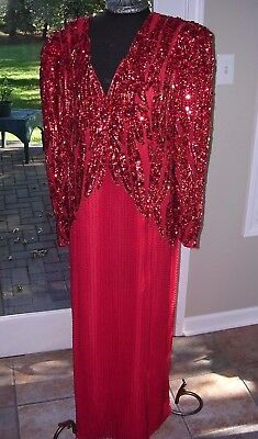 Vintage Brillant Holiday Red Beaded Sequin Long 20's Deco Style Dress Plus Sz 2X