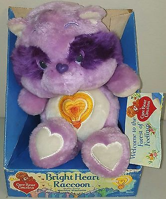 "Vintage 13"" BRIGHT HEART RACCOON Care Bear COUSIN Plush MINT In BOX w/ Tags NRFB"