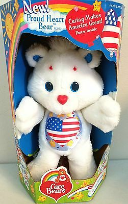 1991 Patriotic * PROUD HEART CARE BEAR Plush * MINT IN BOX * American Flag NEW