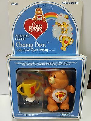 Vintage CHAMP with Accessory Care Bear Poseable Figure * MINT In BOX * PVC