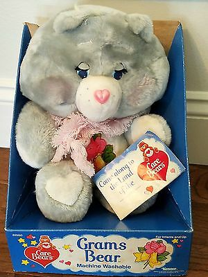 "Vintage 16"" GRAMS Care Bear Plush Toy Kenner MINT In BOX with Tags NRFB w/ scarf"