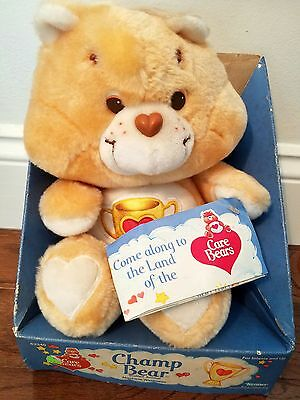 "Vintage 13"" CHAMP Care Bear Plush Toy Kenner MINT In BOX with Tags NRFB"
