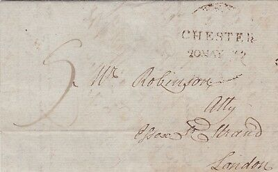 GB 1802 Chester Lettersheet to London 9 Pence Rate Rare Chester Handstamp