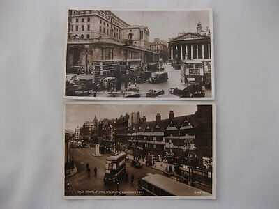 2 Valentine Real Photo - Bank Of England + Old Staple Inn [London Buses] c1941