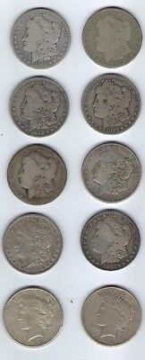 Assorted Morgan & Peace $1 90% Silver Coins, Various Dates, 10 Coins Total