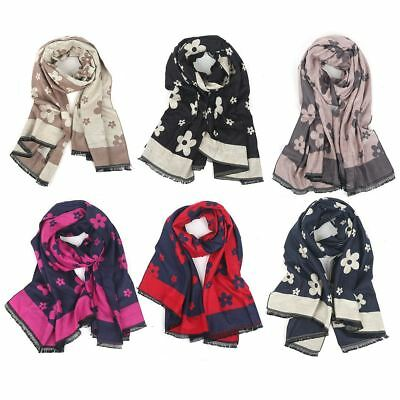 Womens Ladies Large Two Tone Flower Petal Floral Print Frayed Scarf Wrap Shawl