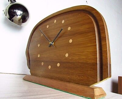 Good size Retro Mid-Century Danish Modern Inlaid Teak Clock