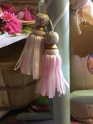Wooden And Ribbon Tassels / 4 Inch Long / Perfect For Nursery