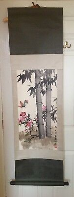 Chinese painted scroll with bamboo and butterflies