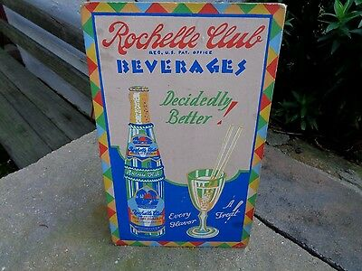 Vintage Rochelle Club Beverages Sign New Rochelle Ny Soda Cardboard Bottle