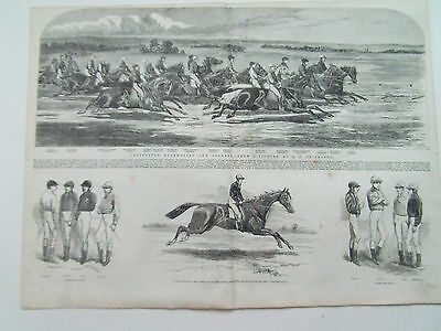 RACING HORSES AND JOCKEYS LARGE ANTIQUE PRINT-CELEBRATED DATED 1853 40cmx56cm
