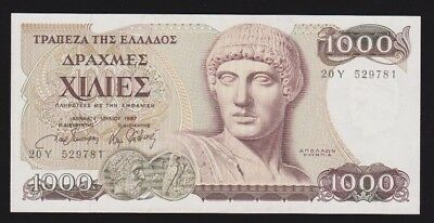 Greece 1000 Drachmai 1987 P#202 Unc Condition Nice Note