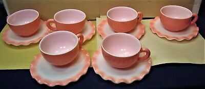 6 Old Hazel Atlas Pink Ruffle Crinoline Cups & Saucers Unused